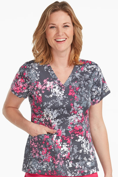 Med Couture Scrub Top Print Plus Sizes Pewter Pink