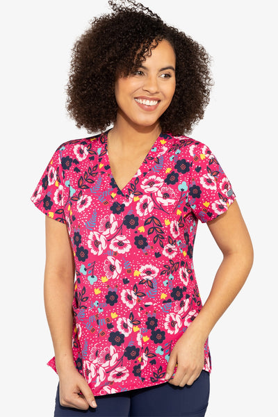 Med Couture Scrub Top Print Plus Sizes Wimsical Flower