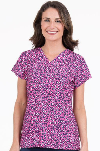 Med Couture Scrub Top Print Plus Sizes Pink Cheetah Spots