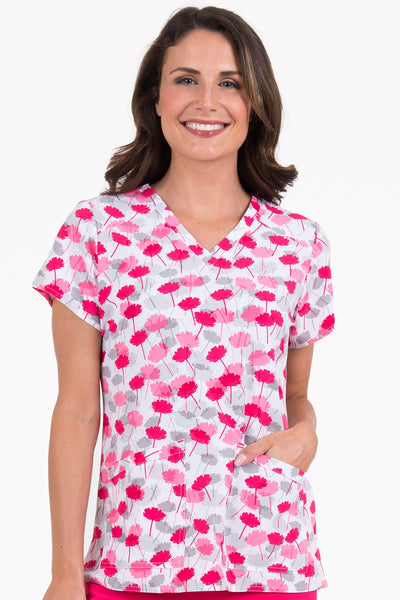 Med Couture Scrub Top Print Plus Sizes Pink Peony