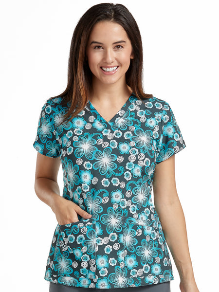 Med Couture Scrub Top Print Plus Sizes Pewter Paradise