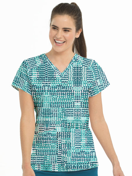 Med Couture Scrub Top Prints Squared Fantasy
