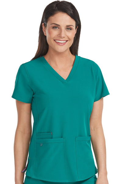 Med Couture Scrub Top Energy Serena Shirttail Hem V-neck Hunter - Parker's Clothing and Shoes
