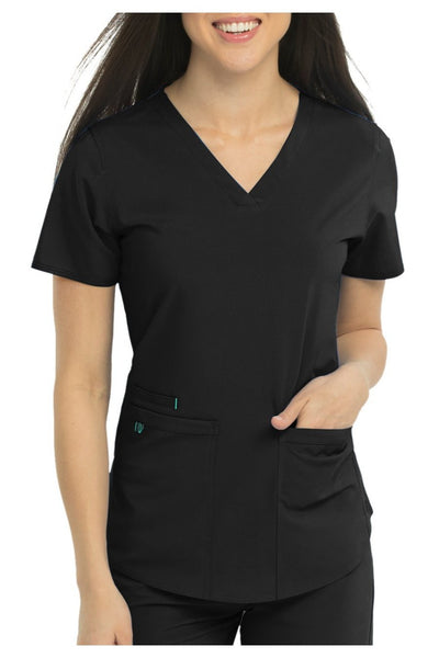 Med Couture Scrub Top Energy Serena Shirttail Hem V-neck Black - Parker's Clothing and Shoes