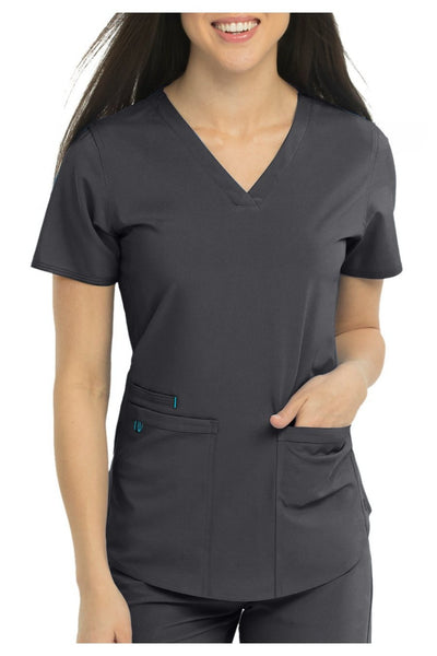 Med Couture Scrub Top Energy Serena Shirttail Hem V-neck Pewter - Parker's Clothing and Shoes