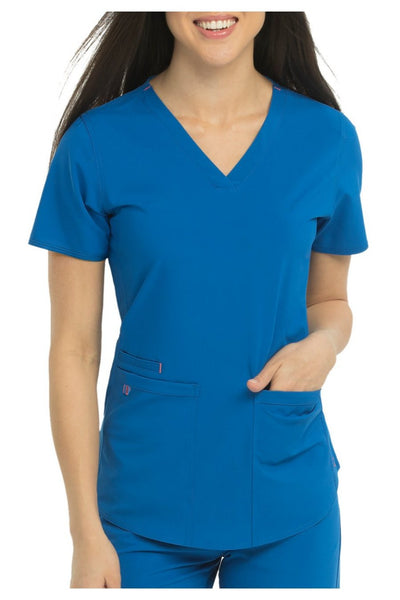 Med Couture Scrub Top Energy Serena Shirttail Hem V-neck Royal - Parker's Clothing and Shoes