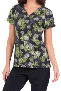 Med Couture Air Apple Starburst Print V-Neck Print Scrub Top - Parker's Clothing & Gifts