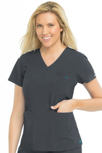 Med Couture Scrub Top Energy Mia V-Neck Pewter - Parker's Clothing and Shoes