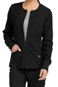 Med Couture Scrub Jacket Activate Warm Terrain Zip Front Black - Parker's Clothing and Shoes