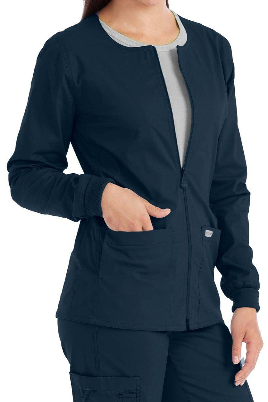 Med Couture Scrub Jacket In-Seam Zip Front in New Navy at Parker's Clothing and Shoes