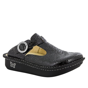 Alegria Classic Black Embossed Rose Clog - Parker's Clothing & Gifts