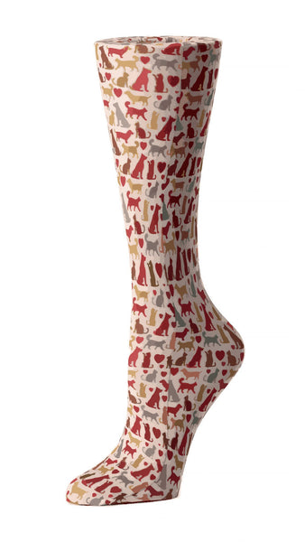 Cutieful Moderate Compression Socks 10-18 MMhg Wide Calf Knit Autumn Cats And Dogs at Parker's Clothing and Shoes.