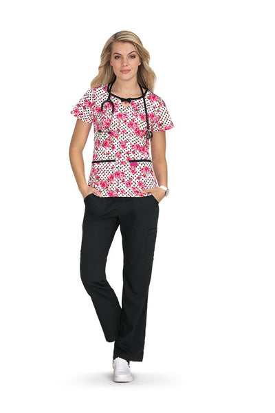 Koi Print Scrub Tops Plus Sizes Cherry Blossom