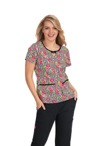 Betsey Johnson Flowers and Stripes Print Top
