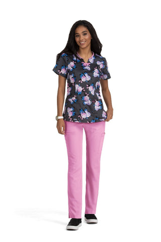Betsey Johnson Scrub Print Top Cosmos Scented Rose at Parker's Clothing and Shoes.