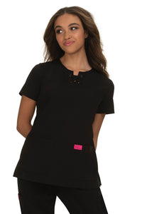 Betsey Johnson Scrub Top Clover in Black at Parker's Clothing and Shoes