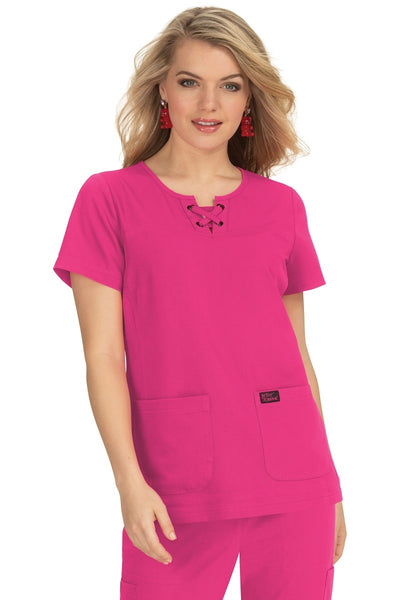 Betsey Johnson Plus Size Scrub Top Clover in Flamingo at Parker's Clothing and Shoes