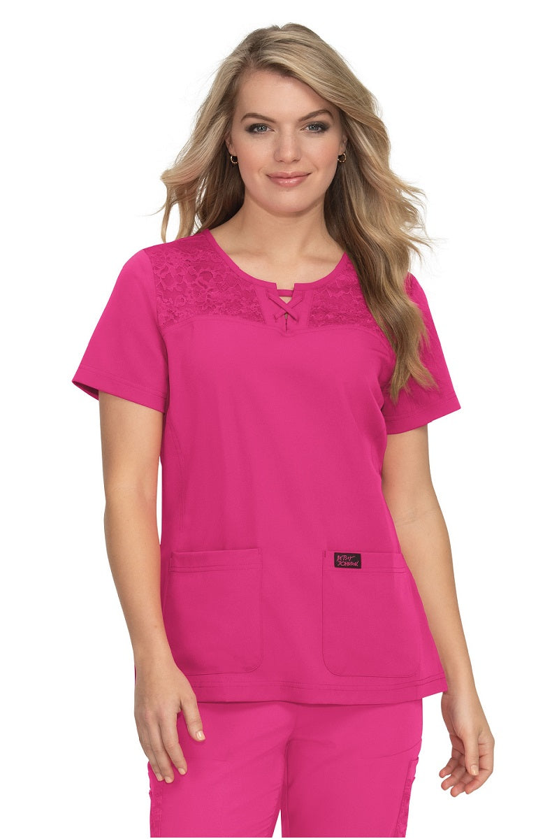 Betsey Johnson Scrub Top Cherry in Flamingo at Parker's Clothing and Shoes