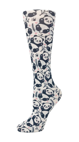 Cutieful Moderate Compression Socks 10-18 MMhg Wide Calf Knit Baby Panda at Parker's Clothing and Shoes.
