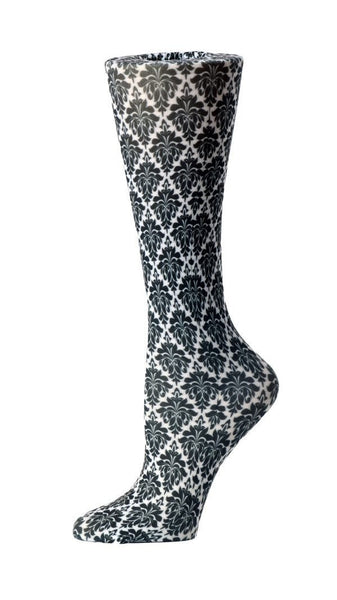 Cutieful Moderate Compression Socks 10-18 MMhg Wide Calf Knit Black Flowers at Parker's Clothing and Shoes.