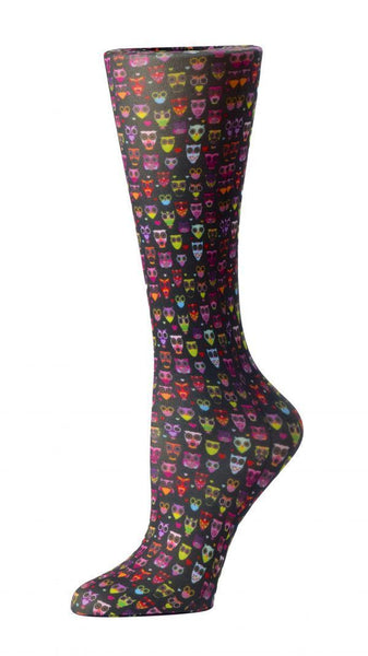 Cutieful Moderate Compression Socks 10-18 MMhg Wide Calf Knit Black Owls at Parker's Clothing and Shoes.