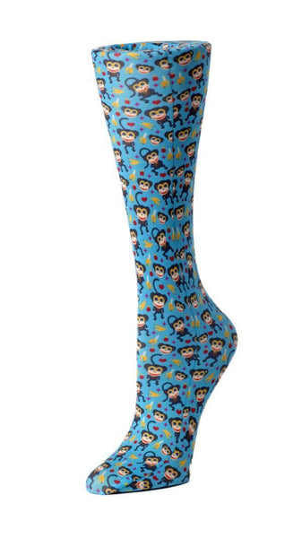 Cutieful Moderate Compression Socks 10-18 MMhg Wide Calf Knit Blue Monkey at Parker's Clothing and Shoes.