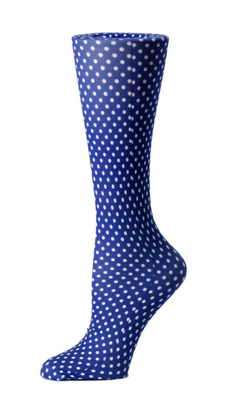 Cutieful Moderate Compression Socks 10-18 MMhg Wide Calf Knit Blue Polka Dot at Parker's Clothing and Shoes.