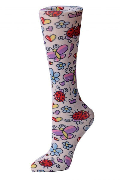Cutieful Moderate Compression Socks 10-18 MMhg Wide Calf Knit Bugs at Parker's Clothing and Shoes.