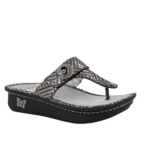 Alegria Carina Leather Thong Sandal Sale Shoe in Pewter Dazzler at Parker's Clothing and Shoes.