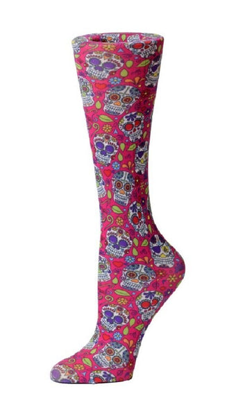 Cutieful Compression Socks 10-18 mmHG Wide Calf Knit Calavera