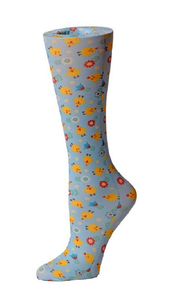 Cutieful Moderate Compression Socks 10-18 MMhg Wide Calf Knit Chicks at Parker's Clothing and Shoes.