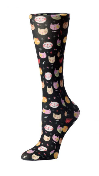 Cutieful Moderate Compression Socks 10-18 MMhg Wide Calf Knit Crazy Cats at Parker's Clothing and Shoes.