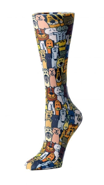 Cutieful Moderate Compression Socks 10-18 MMhg Wide Calf Knit Dapper Dogs at Parker's Clothing and Shoes.