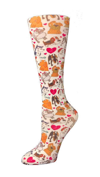 Cutieful Moderate Compression Socks 10-18 MMhg Wide Calf Knit Dog Pawty at Parker's Clothing and Shoes.