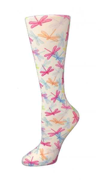 Cutieful Compression Socks 10-18 mmHG Wide Calf Knit Dragonflies