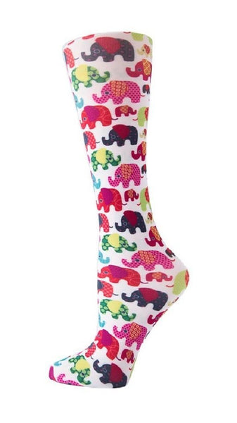 Cutieful Moderate Compression Socks 10-18 MMhg Wide Calf Knit Elephants at Parker's Clothing and Shoes.