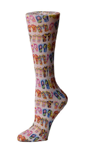 Cutieful Moderate Compression Socks 10-18 MMhg Wide Calf Knit Flip Flops at Parker's Clothing and Shoes.
