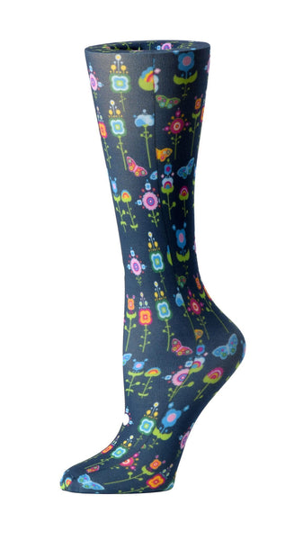 Cutieful Moderate Compression Socks 10-18 MMhg Wide Calf Knit Flowers & Butterflies at Parker's Clothing and Shoes.
