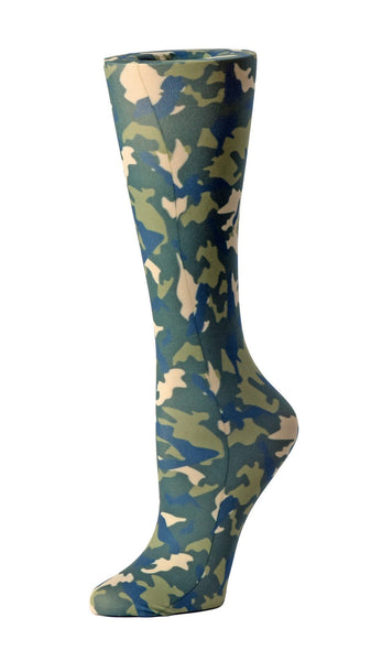 Cutieful Moderate Compression Socks 10-18 MMhg Wide Calf Knit Green Camo at Parker's Clothing and Shoes.