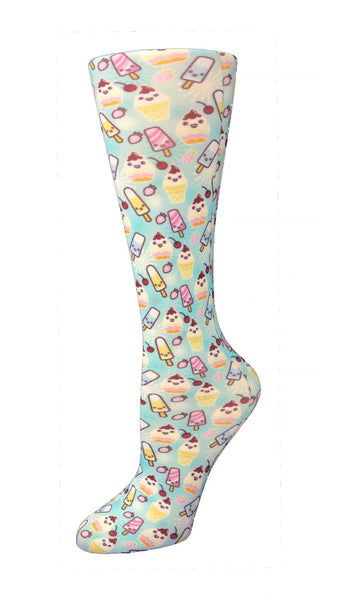 Cutieful Moderate Compression Socks 10-18 MMhg Wide Calf Knit Ice Cream Social at Parker's Clothing and Shoes.