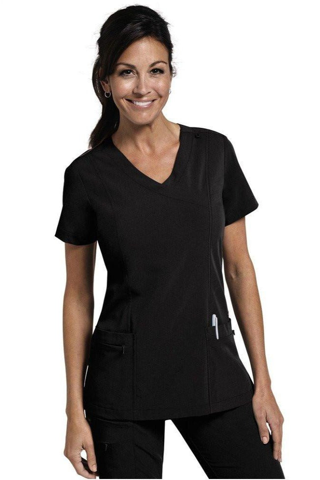 Jockey Scrub Top Classic Mock Wrap in Black 2306 at Parker's Clothing and Shoes