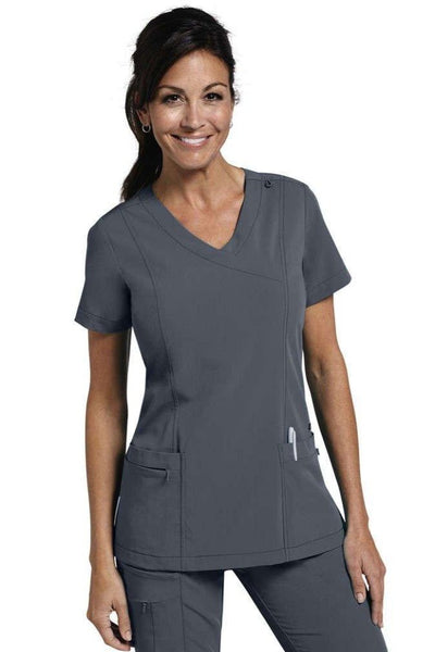 Jockey Scrub Top Classic Mock Wrap in Pewter 2306 at Parker's Clothing and Shoes