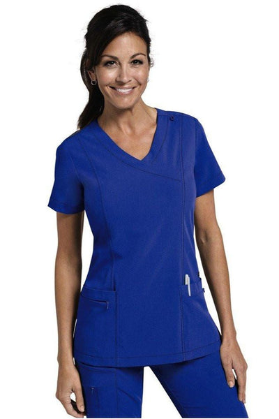 Jockey Scrub Top Classic Mock Wrap in Royal 2306 at Parker's Clothing and Shoes