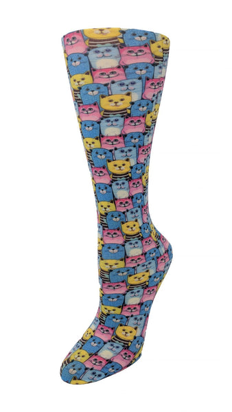 Cutieful Moderate Compression Socks 10-18 MMhg Wide Calf Knit Kozy Kats at Parker's Clothing and Shoes.