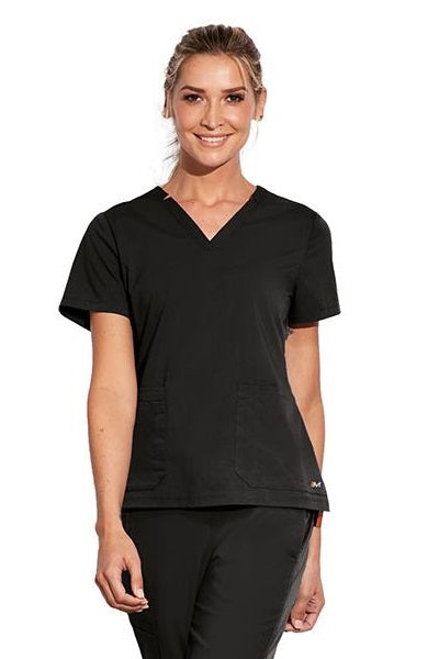 Motion by Barco Scrub Top Claire V-Neck in Black at Parker's Clothing and Shoes
