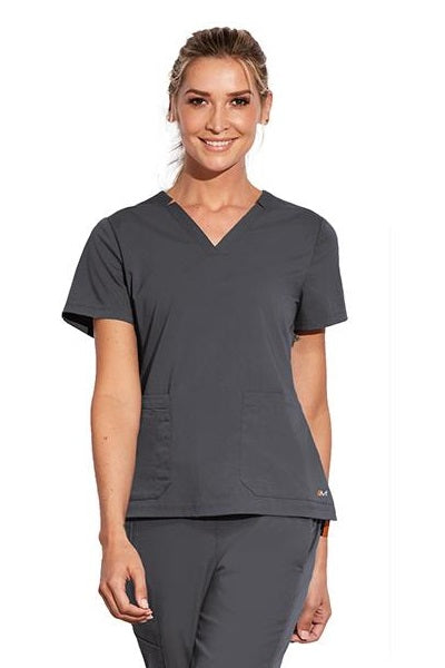 Motion by Barco Scrub Top Claire V-Neck in Pewter at Parker's Clothing and Shoes