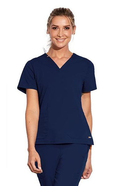 Motion by Barco Scrub Top Claire V-Neck in Navy at Parker's Clothing and Shoes
