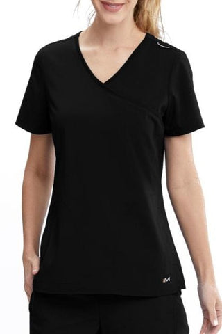 Motion by Barco Plus Size Scrub Top Aria Mock Wrap in Black at Parker's Clothing and Shoes