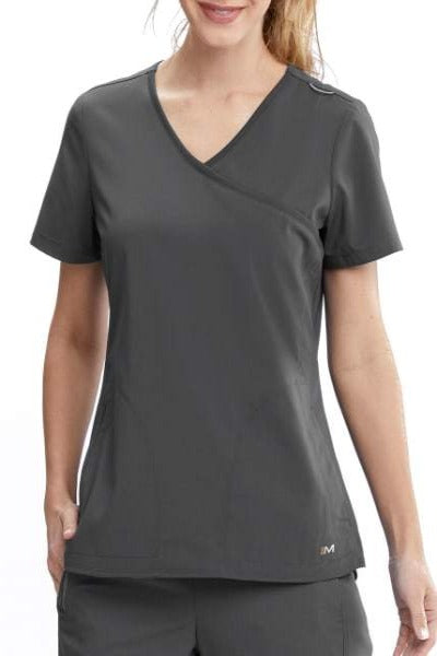 Motion by Barco Scrub Top Aria Mock Wrap in Pewter at Parker's Clothing and Shoes