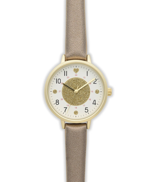 Nurse Mates Watch Analog With Second Hand Glitter Gold 1.25""